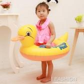 正版寶寶坐圈卡通游泳圈加厚充氣兒童座圈男女孩大黃鴨浮圈帶把手-ifashion