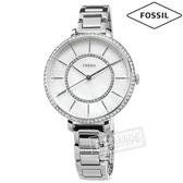 FOSSIL / ES4451 / 晶鑽鑲圈 珍珠母貝 礦石強化玻璃 日本機芯 不鏽鋼手錶 銀白色 36mm