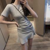 棉質短袖T恤連身裙女(2色)側邊抽繩收腰裙子洋裝【SX1137】