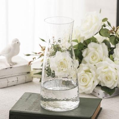 日式錘紋小透明玻璃花瓶 簡約水培插花花器 小清新干花花瓶擺件  HM 卡布奇諾