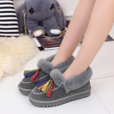 低筒雪靴-時尚舒適仿兔毛流蘇女厚底靴子3色73kg80[巴黎精品]