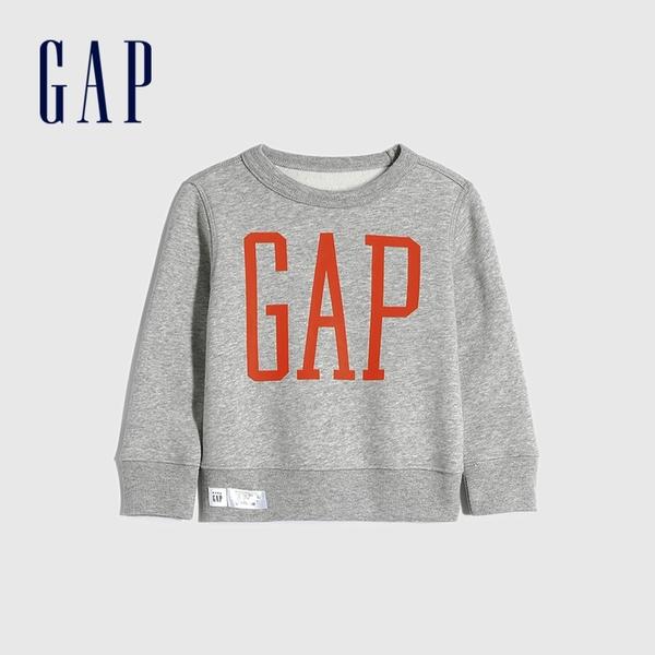 Gap男幼童 碳素軟磨系列 Logo刷毛休閒上衣 656444-淺麻灰