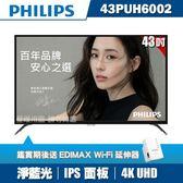 ★送WIFI延伸器★PHILIPS飛利浦 43吋4K UHD連網液晶顯示器+視訊盒43PUH6002