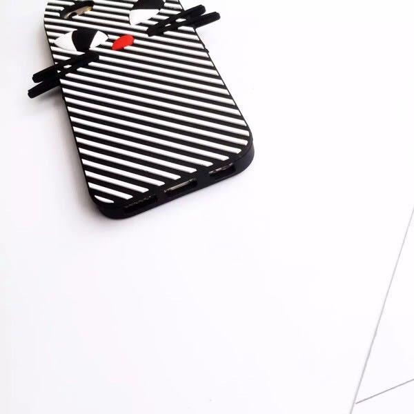 iPhone手機殼 韓國搞怪條紋貓咪 矽膠軟殼全包 蘋果iPhone7/iPhone6手機殼