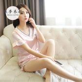 睡衣夏季新款韓版仿真絲綢睡衣短袖休閒冰絲薄款少女家居服兩件套滿699折89折