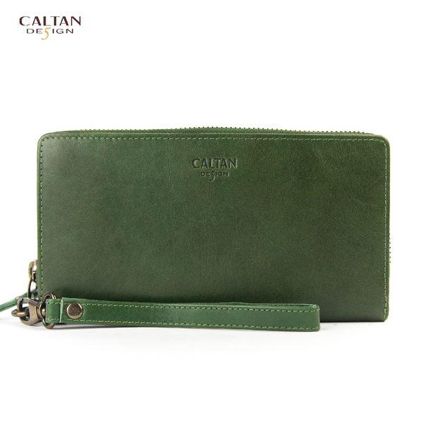 牛皮/長夾【CALTAN】多卡位手拿包大容量真皮長夾-072467cd綠