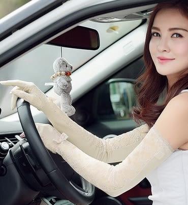 長款全指遮陽蕾絲防曬手套夏天開車防紫外線真絲袖套  -amy0017
