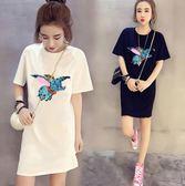 VK精品服飾 韓系動物亮片刺繡T恤寬鬆休閒長版短袖上衣
