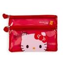 小禮堂 Hello Kitty 雙層防水扁平收納包 A5手帳包 網格收納包 透明文具包 (紅 果凍文具) 4550337-58303