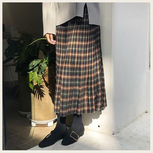✦Styleon✦正韓。學院風草綠格紋百摺長裙。韓國連線。韓國空運。1114。