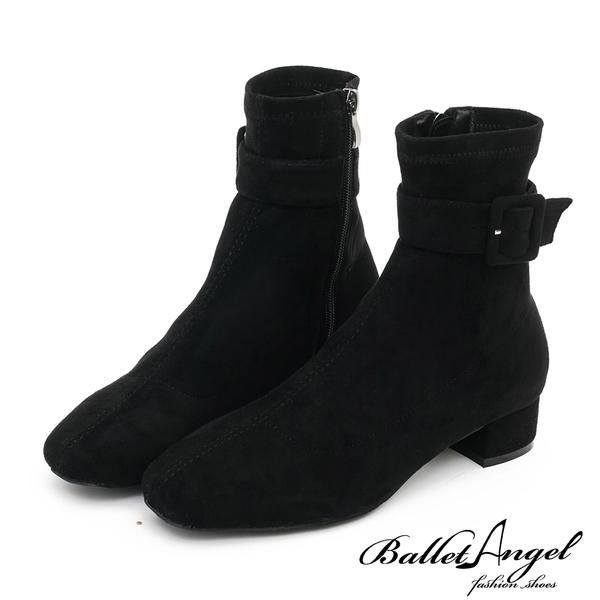 短靴 品味魅力皮帶釦低跟短靴(絨布黑)*BalletAngel【18-1860-2bk】【現貨】