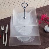 歐式客廳三層水果盤多層家用糖果架盤鋼化玻璃下午茶點心蛋糕架XSX