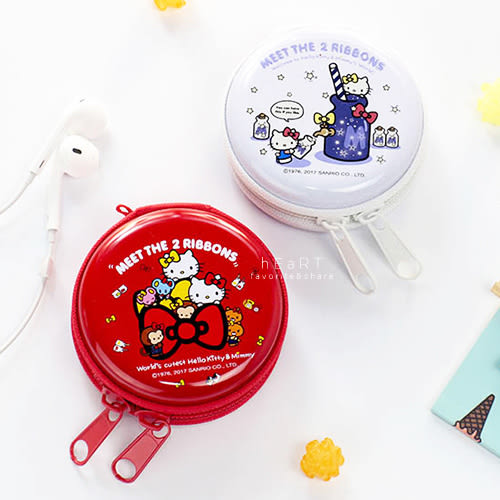 Hello Kitty 迷你鐵盒零錢包耳機收納包 隨身包 收納包 小物收納