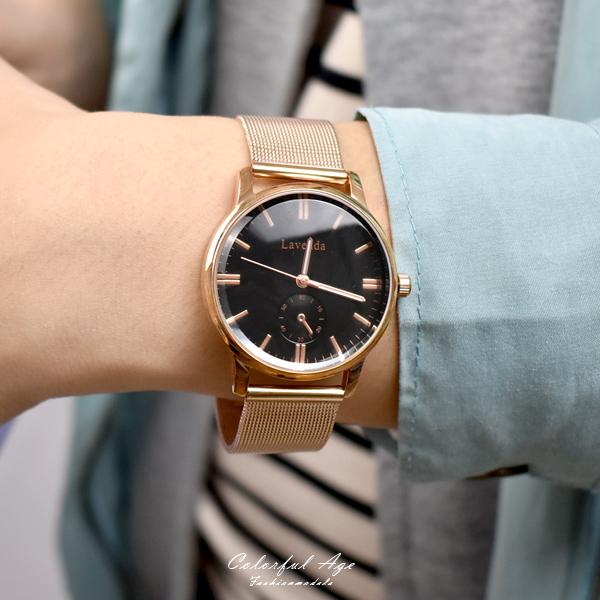 韓國手錶  LAVENDA玫金仿秒盤米蘭錶NEKL15