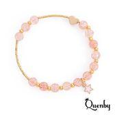 Quenby 甜美簡約風招桃花彈力手鍊/手環-甜心粉橘色