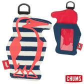 CHUMS 日本 Booby 造型悠遊卡夾 深藍條紋/茄紅 CH602012N020