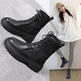 馬丁靴女秋鞋秋冬加絨爆款百搭瘦瘦短靴子【小酒窩服飾】