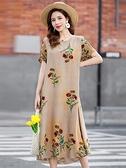 中大尺碼洋裝 中老年純棉綢連身裙加肥加大碼媽媽夏裝洋氣過膝印花人造棉中長裙 薇薇