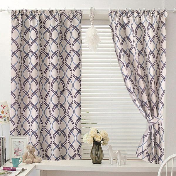 窗簾 古拉城印花遮光窗簾 寬200x高165cm半腰窗簾 落地窗簾 客製化 訂製窗簾 藍色