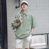 夏季小清新純色口袋短袖POLO衫男士寬鬆翻領半袖體恤衫 麥琪精品屋