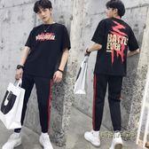 2019春夏季潮流韓版男士套裝男短袖T恤休閒裝兩件套衣服帥氣一套 「時尚彩虹屋」