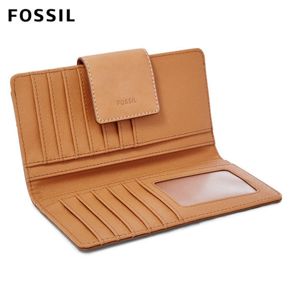 FOSSIL Emma 淺駝色真皮RFID 搭扣長夾 SL7154231