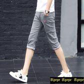 牛仔短褲 短七分牛仔褲韓版修身小腳褲