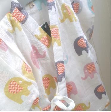 純棉紗布 新款日本甚平男女童寶寶和服套裝柔軟睡衣汗蒸溫泉小象  易貨居