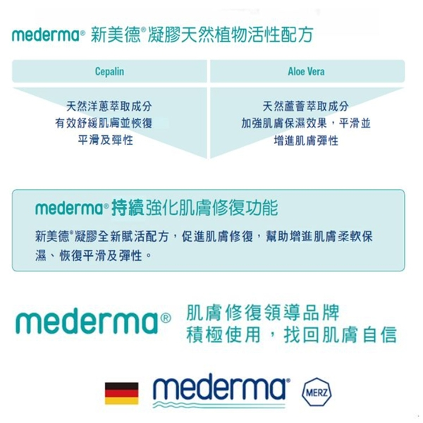 【Mederma 美德】新美德凝膠(20g)疤痕護理凝膠 (蘆薈新配方)