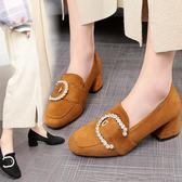 韓版時尚單鞋韓版百搭粗跟鞋方頭淺口中跟鞋女鞋