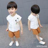 兒童和服男寶寶棉麻和服中國風兒童漢服男童夏裝套裝潮  XY3465 【KIKIKOKO】