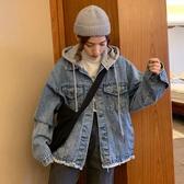 牛仔外套 牛仔外套女復古港味矮個子秋裝洋氣連帽百搭寬鬆長袖夾克潮   魔法鞋櫃