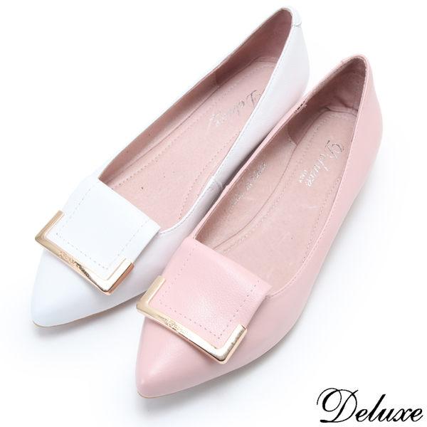 【Deluxe】全真皮甜美方形飾扣尖頭內增高娃娃鞋(粉☆白)