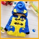 冬季新款 兒童男童胸前大像 兩隻象口袋 加厚棉衣外套