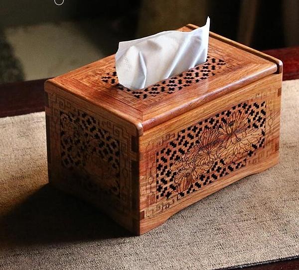 緬甸花梨木抽紙盒桌面