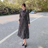 洋装 連身裙韓版雪紡高腰長袖碎花裙超仙森系H325 韓依紡