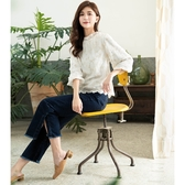 秋裝上市[H2O]立體金蔥刺繡花泡袖雪紡上衣 - 白色 #0655009