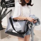 透明包  單肩包女大包包容量潮百搭韓版文藝帆布包斜挎透明果凍包 『伊莎公主』