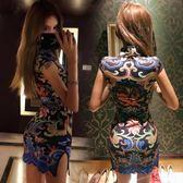 韓版復古龍圖騰印花大氣包臀修身少女改良開叉旗袍連身裙 奇思妙想屋