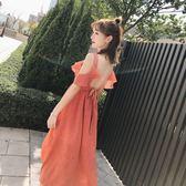 限時38折 韓系時尚海邊度假條紋顯瘦波西米亞短袖洋裝