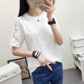 DE shop - 鉤花鏤空拼接圓領短袖上衣 - T-8070