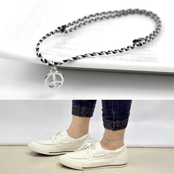 男生腳鍊 素款PEACE混色編織繩NAS10