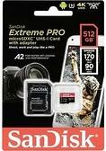 【聖影數位】SanDisk Extreme PRO microSDXC 512GB 記憶卡(附轉卡) TF 170MB/s U3 A2 V30 4K【公司貨 終身保】SDSQXCZ
