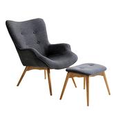 【JUSTBUY】北歐經典單人休閒沙發椅凳組(單人沙發椅+獨立腳凳)經典灰黑色
