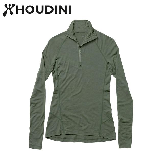 瑞典【Houdini】W`s Desoli zip 女款美麗諾羊毛保暖拉鍊內層衣 柳樹綠