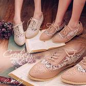 鞋子 透膚蕾絲平底牛津鞋-Ruby s 露比午茶