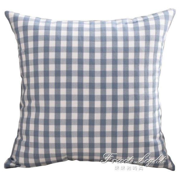 北歐格子靠墊套客廳沙發抱枕靠背抱枕套正方靠枕靠墊套不含芯靠墊【果果輕時尚】