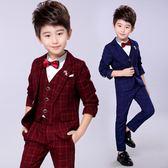 男童禮服 款兒童西裝套裝男童英倫花童男孩格子小西服三件式 迪澳安娜