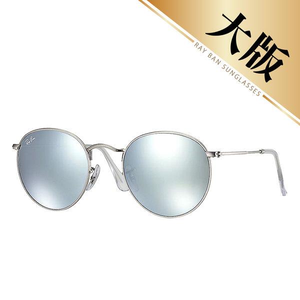 【Ray-Ban雷朋】RB3447-019/30-53mm 歐美超模復古圓框太陽眼鏡(#銀框-水銀灰鏡/大版)