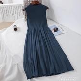 新款杏色a字初戀裙復古洋裝半高領長款無袖毛線 黛尼時尚精品